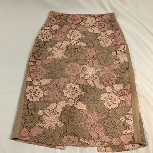 Calvin Klein Neutral Pencil Skirt with pink & tan